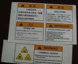 Etiqueta e etiqueta autoadesivas de advertência