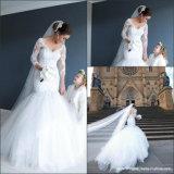 Vestido de casamento nupcial G17289 da sereia do laço da V-Garganta do vestido das luvas longas
