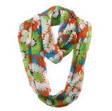 Mode féminine fleur imprimé de polyester de l'infini en mousseline de l'été foulard (YKY1108)