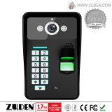 Двери видео телефон с помощью считывателя отпечатков пальцев контроль доступа