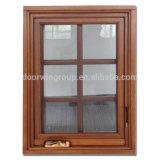 강화 유리 미국 불안정한 갱도지주 알루미늄 여닫이 창 Windows를 가진 석쇠 디자인 오크재 여닫이 창 Windows