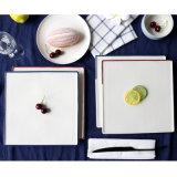El filete cuadrado platea la porcelana blanca 2 pedazos