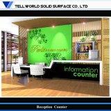 Piccolo scrittorio di ricezione bianco della TW e verde moderno dell'ufficio