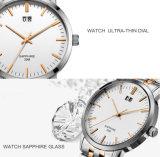 Logotipo personalizado a los hombres de cuarzo cristal Reloj de pulsera suizo para el hombre