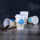 12oz горячего кофе двойные стенки бумаги чашки с пластмассовой крышки багажника