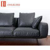 現代黒いカラーイタリアのNappaの革部門別のソファーの舞台装置