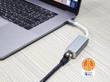 Type C aan RJ45 de Adapter van de Huisvesting van het Aluminium van de Splitser van het Netwerk van Ethernet Gibabit voor Laptop van PC