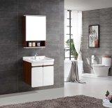 灰色の穀物および光沢のある白いカラーの多層純木の浴室の虚栄心