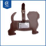 昇進の卸し売り顧客用犬の形の革荷物の札