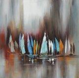 Nordische Kunst-Segel-und Boots-handgemachte Ölgemälde auf Segeltuch
