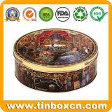 Runder geprägter Plätzchen-Zinn-Kasten für das Metallnahrungsmittelspeicher-Verpacken