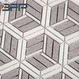 白いベージュ大理石、六角形平らな、大理石のWaterjetモザイク-シェブロンのランタン、偏菱形