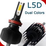 el faro H7 H11 9005 del coche LED de 2PCS 60W 6000lm 9006 9012 5202 D2 se dobla el color L5d Fanless