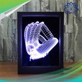 O frame colorido da foto da luz da noite do diodo emissor de luz 3D iluminou a lâmpada de tabela de 7 cores com o de controle remoto para presentes do Natal do quarto