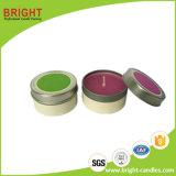 Vela promocional del envase del estaño con la escritura de la etiqueta modificada para requisitos particulares del color