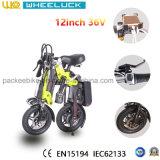 [س] 12 بوصة جيّدة يبيع يطوي درّاجة كهربائيّة مع كثّ مكشوف محرك أسود