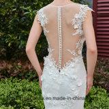 Robe de mariage de sirène en arrière des robes de tresse de train de chapelle de bouton