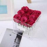 Acrílico transparente de cristal resistente al agua para el 9 de la caja de flores rosas mostrar