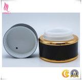 Vaso crema cosmetico nero opaco con il bordo dorato