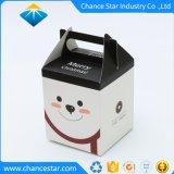 La impresión de color personalizadas de papel plegado Caja de regalo con asa
