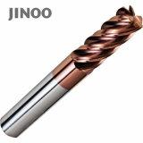 Jingnuoのタングステンの固体炭化物4のフルートの端製造所の速度