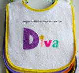 Kundenspezifischer Entwurfs-Firmenzeichen gedruckter Baumwollkarikatur-weißer Babybandana-Schellfisch