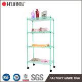Color Mintcream Estante ajustable de 4 Casa de almacenamiento en estanterías Estantería Metálica con ruedas