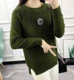 Gola redonda casaco mulheres suéter suéter torção selvagem de cor sólida camisola Long-Sleeved aberto (BTQ233)