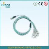 Câble optique de joncteur réseau de fibre de MPO-LC Om4 assemblant Patchcords