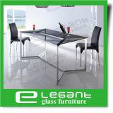 De Eettafel van het roestvrij staal met de Bovenkant van het Glas