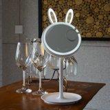 Освещенное СИД зеркало состава, 2 в 1 Кролик-Форменный складывая зеркале тщеты с светильником таблицы, затемнять экрана касания