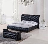 단추를 가진 고전적인 침대 머리 현대 가죽 연약한 2인용 침대