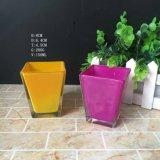 Supporto di candela di vetro del vaso di vetro della candela di stampa colorata del quadrato all'ingrosso