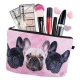 A composição da impressão da cor-de-rosa 3D do trio do buldogue ensaca mulheres que se importa o saco cosmético Trousse Maquillage Femme Neceser compo a caixa de lápis do saco
