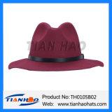 Klassische Fedoratrilby-Frauen-Wolle-geglaubter Hut mit lederner Faltenbildung