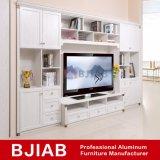 Basamento giallo moderno personalizzato dell'alluminio TV della mobilia della casa del legno di sandalo