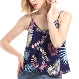 新しいデザイン夏浜細いVの首の花柄のストリップの女性Tanktop
