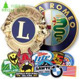 подарок для продвижения оптовых металлические военной полиции имя эмаль булавка эмблемы Custom Gold Silver флаг Car круглый логотип Тин кнопку тканого вышивкой логотипа для одежды