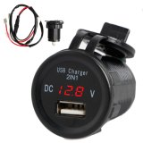 2 в 1 2.1A водонепроницаемый зарядное устройство USB порт телефона вольтметра синий светодиодный индикатор для автомобильного двигателя