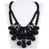 La moda de verano de piedras Joyería/Negro Collar babero de adorno navideño en cascada (PN-094)
