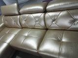 Canapé moderne en cuir en forme de L, Canton Fair Nouveau modèle canapé avec bouton en cristal (A35)