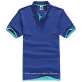 T-shirt de polo de coton de 65% avec des couleurs courtes de chemise en revanche