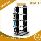 Surgir el estante de los cómic de la visualización del almacenaje de los azulejos del acero del metal con la rueda para la guitarra/los calcetines/rueda/bufanda/plantilla/mineral en almacenes