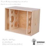 Caja de embalaje del vino de madera natural de encargo del color de Hongdao para 6 Bottles_F