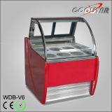 Congélateur de mémoire d'étalage de crême glacée de Gelato avec 6 plateaux d'acier inoxydable (WDB-V6)
