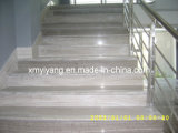 Grey Wood Grain Marble Stone Staircare, Straight Staircase