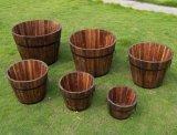Плантаторы бочонка неподдельного дуба половинные для Сад-Патио-Decking, деревянной корзины, луек