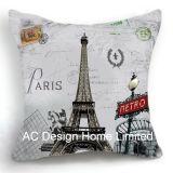 Beautiful Square Eiffel Tower Design Decor Fabric Cushion W/Filling