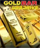 USB de destello de la barra de oro de la chaveta impulsora del USB del regalo promocional