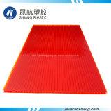 Bereifte gelbe rote Doppel-Wand Polycarbonat-Plastikplatte